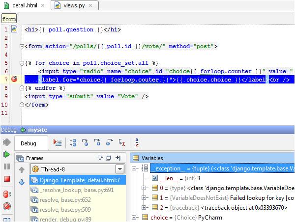 django templates debugging with pycharm