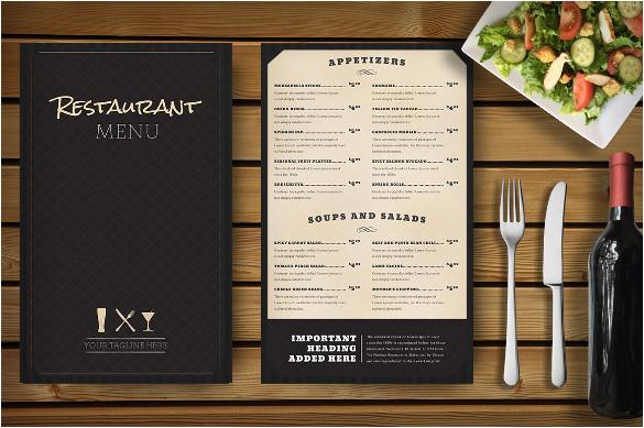 sample restaurant menu