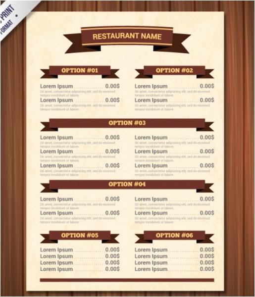 blank restaurant menu template word
