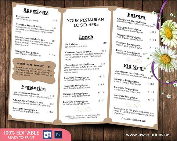 596645 food menu template
