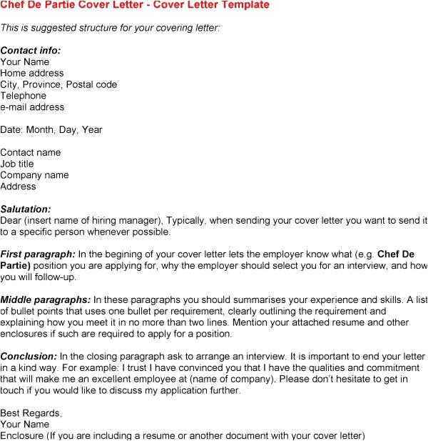 cover letter for chef de partie position