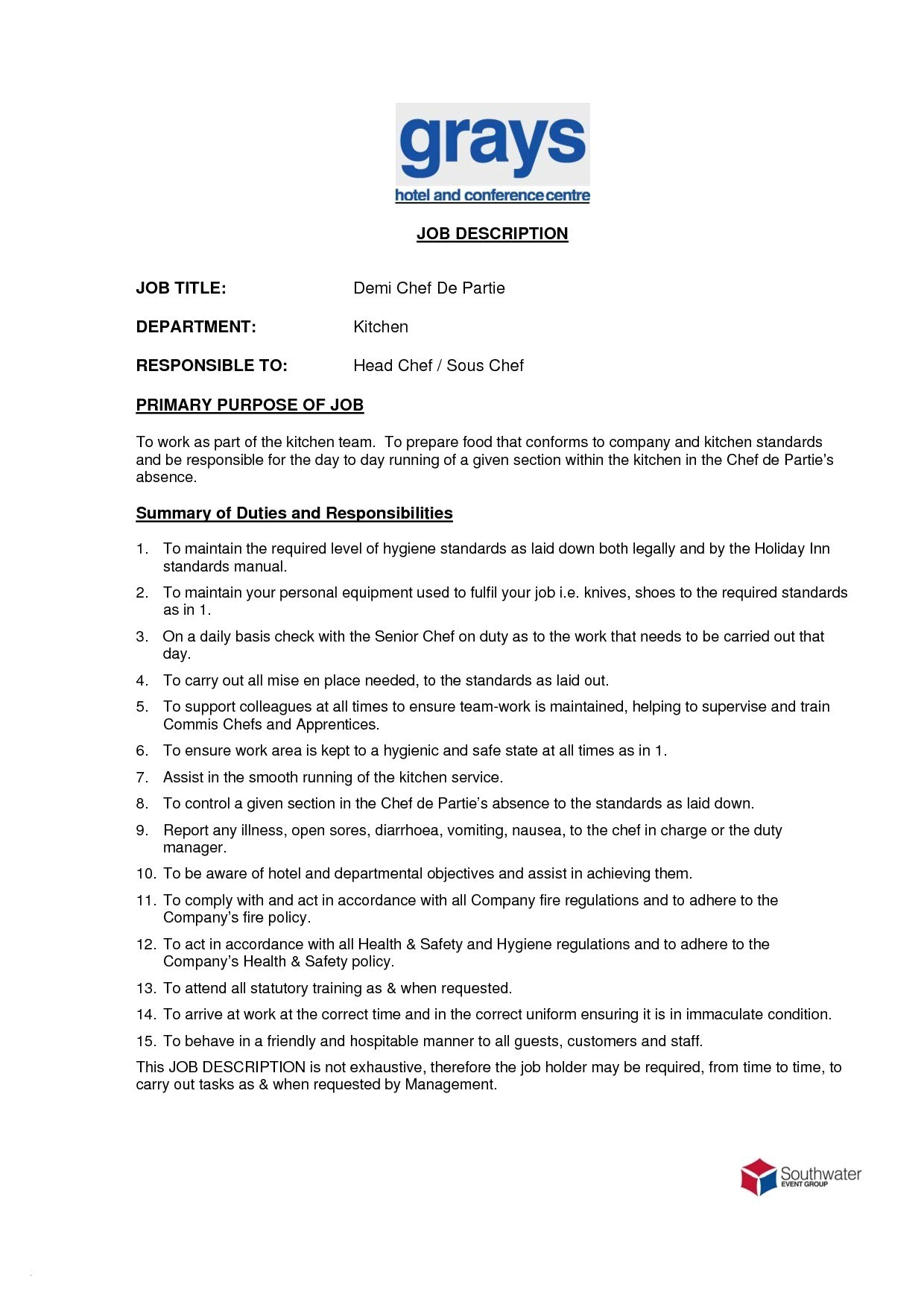 sample resume of chef de partie valid sous chef job description resume elegant jd templates pastry chef