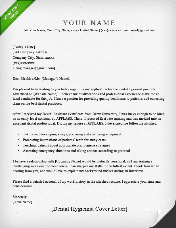 dental assistant and hygienist cover letter examples