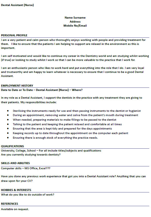 cv example for dental nurse job applications