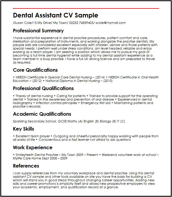 dental assistant cv sample