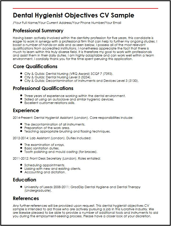 dental hygienist objectives cv sample