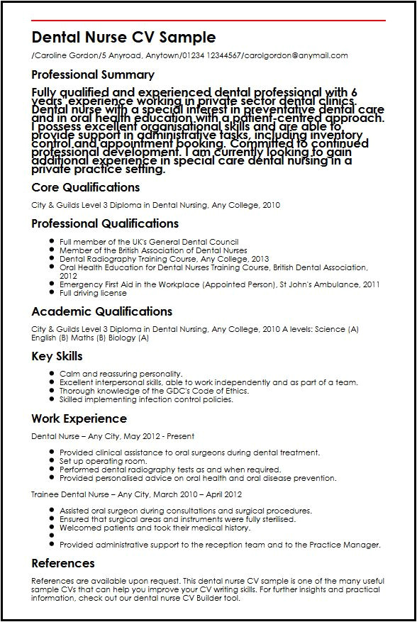 dental nurse cv sample