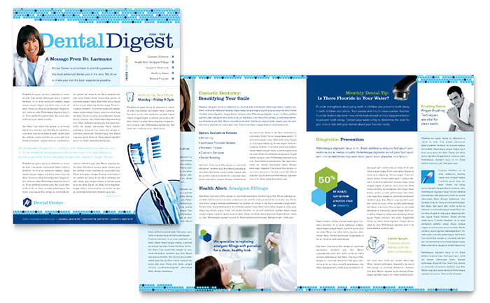 dentistry dental office newsletter template design md0160301