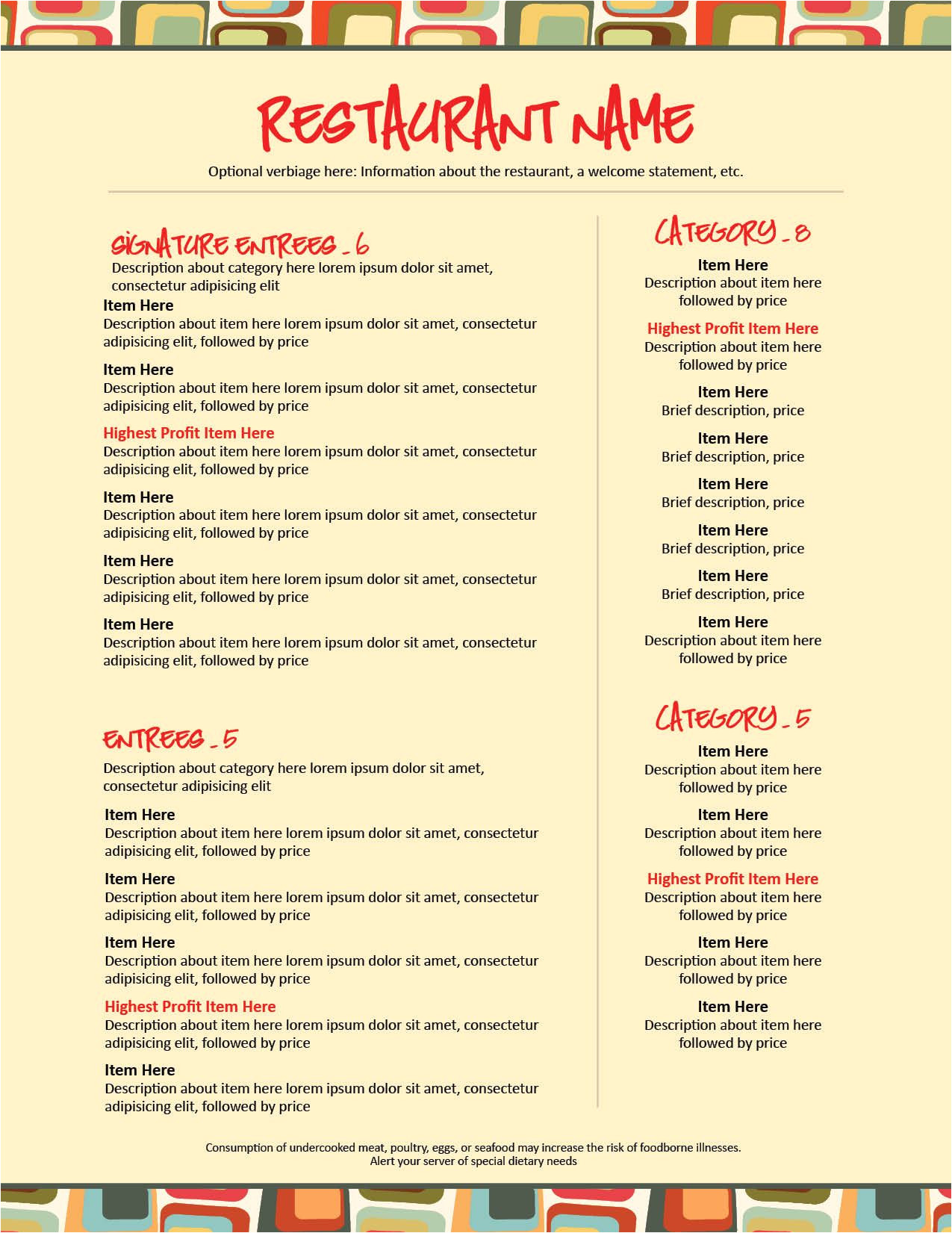 design your own menu template