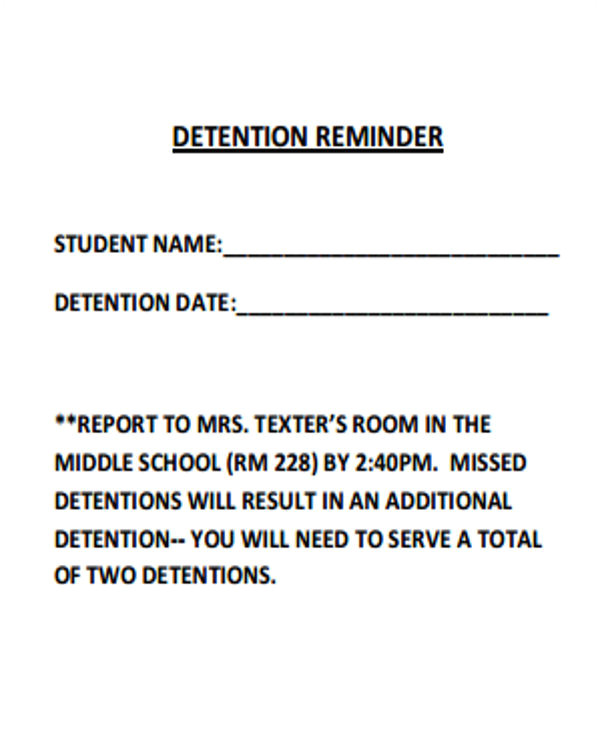 detention notice template
