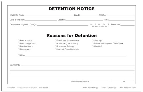 detention forms printable shtml