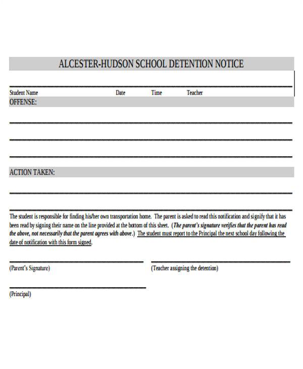detention notice templates