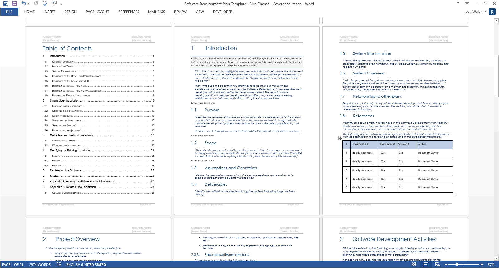 software development plan template ms word