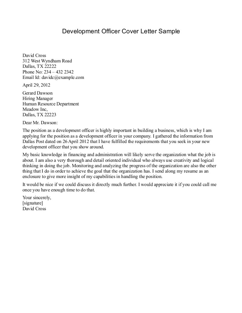 post development officer cover letter examples 78685