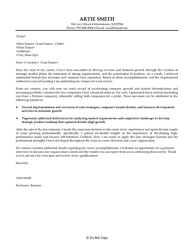 cover letter business development