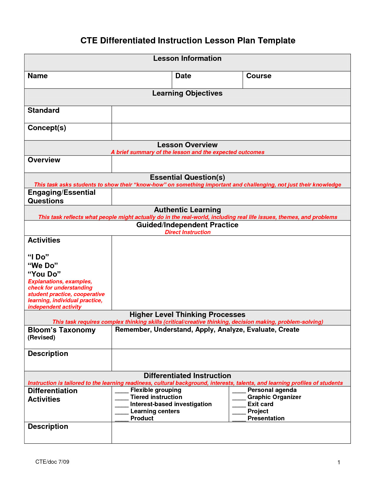 Differentiation Lesson Plan Template 5 Best Images Of Essential Question Lesson Plan Template