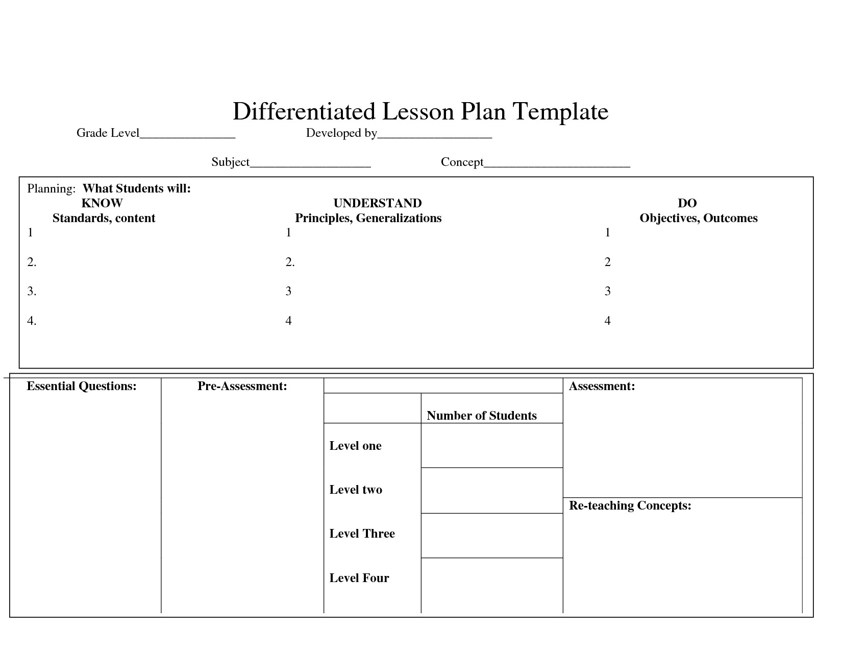 Differentiation Lesson Plan Template Differentiatedlearning Just Another WordPress Com Site