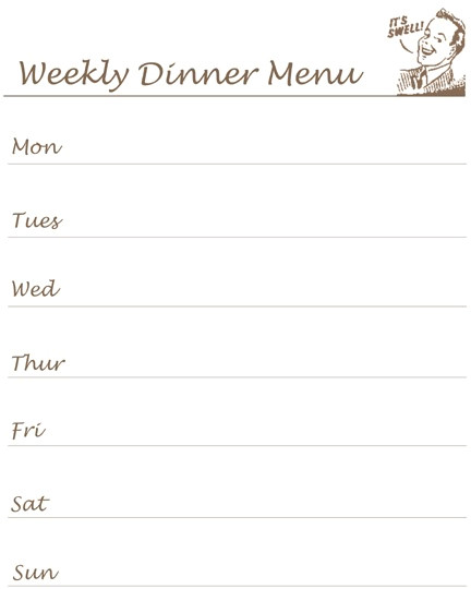 printable whats for dinner list