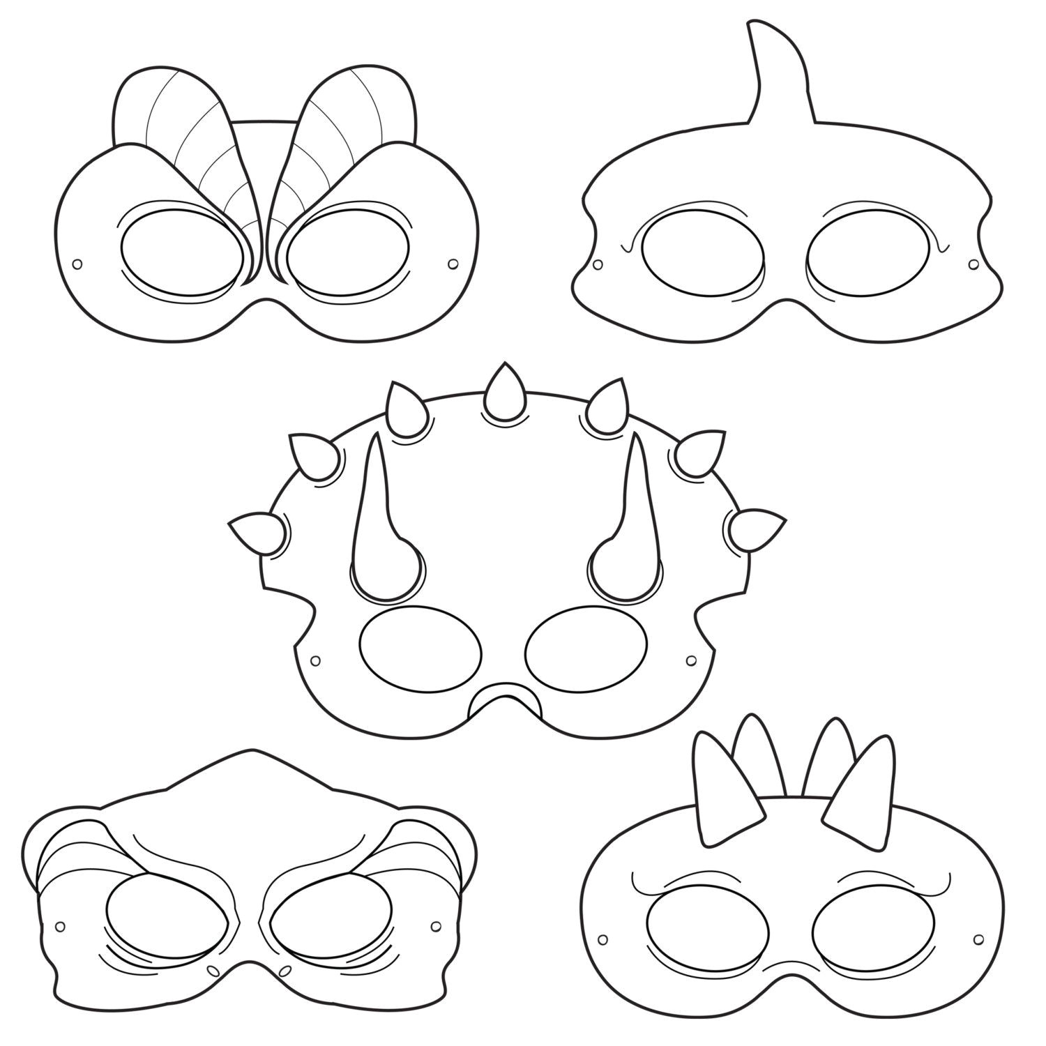 Dinosaur Mask Template Free Dinosaurs Printable Coloring Masks Dinosaur by
