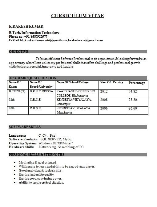 engineering student resume format freshers