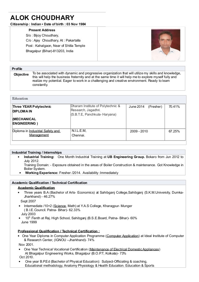 cv resume alok choudharydiplomamechanical engineering fresher2013 44978563
