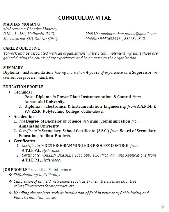 sample resume for diploma in mechanical engineering
