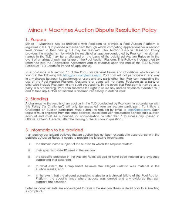 Dispute Resolution Policy Template 10 Dispute Resolution Policy Templates Pdf Doc Free