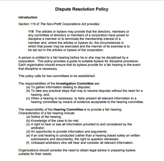 Dispute Resolution Policy Template 10 Dispute Resolution Policy Templates Pdf Doc Free