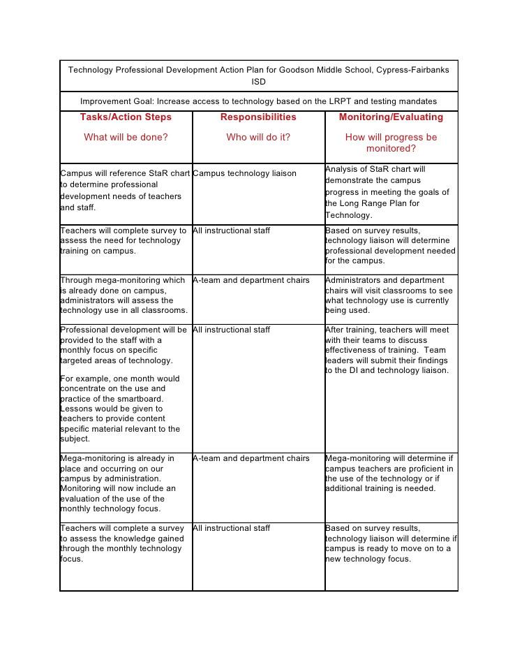 technology professional development action plan for goodson middle school