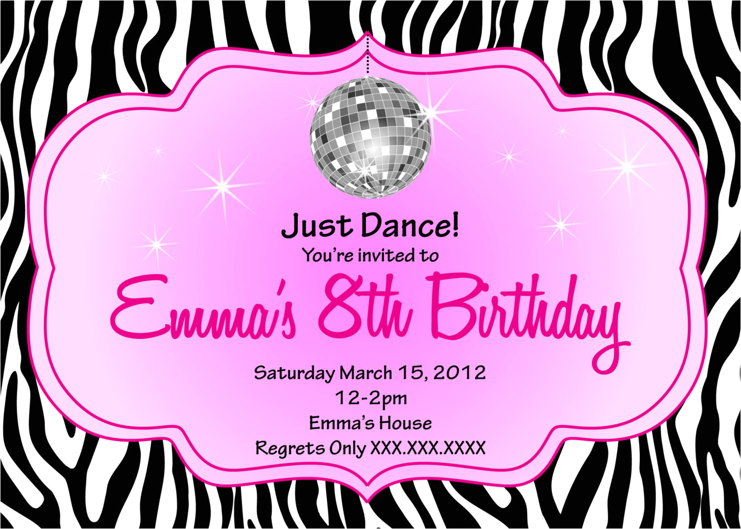 free printable kids disco invitations