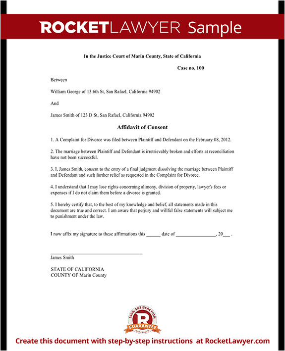 Divorce Affidavit Template Affidavit Of Consent form Divorce Affidavit Sample Template