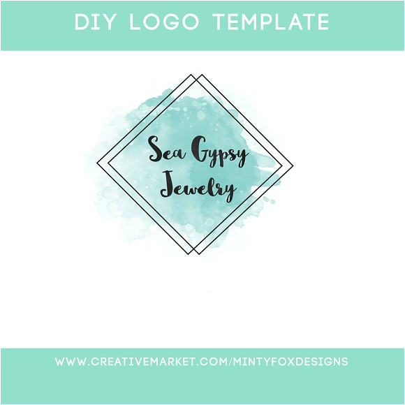 406898 mint watercolor diy logo template