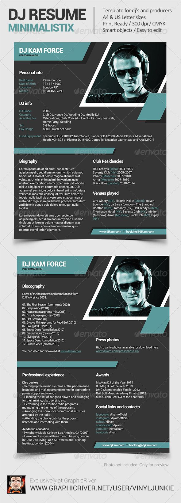 dj press kit and dj resume templates