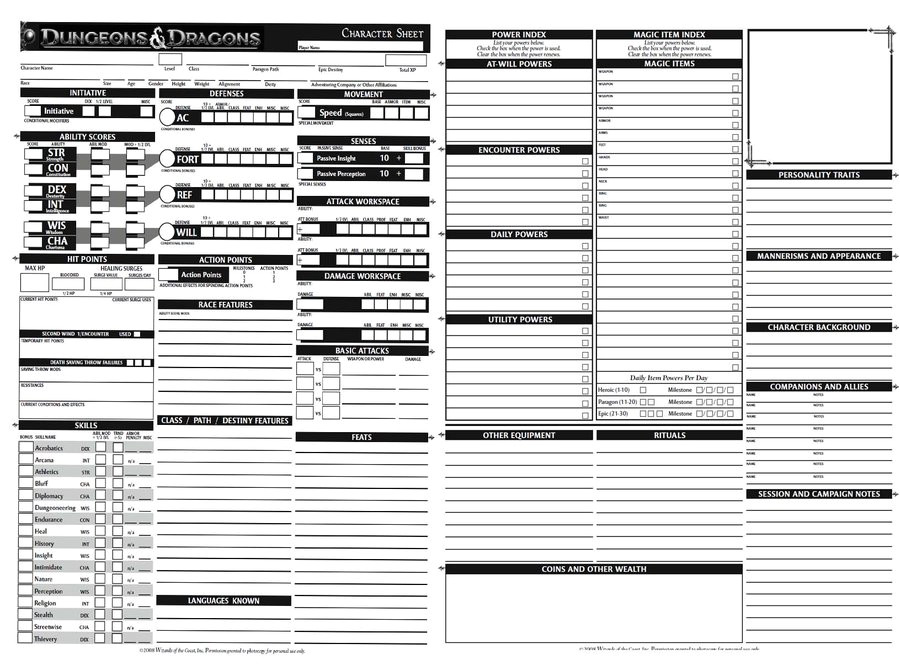 dungeons and dragons charecter sheet 282385397