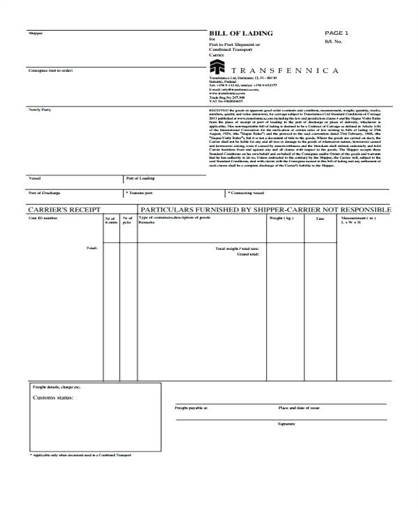 dock receipt template pro dock receipt sample