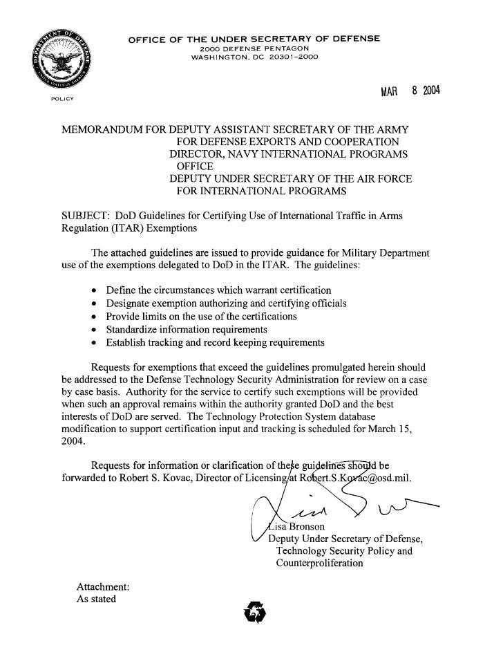 dod exemption guidelines bronson memo