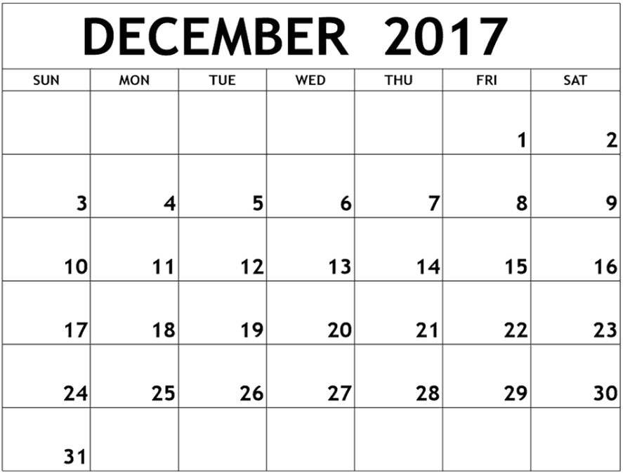 december 2017 calendar word