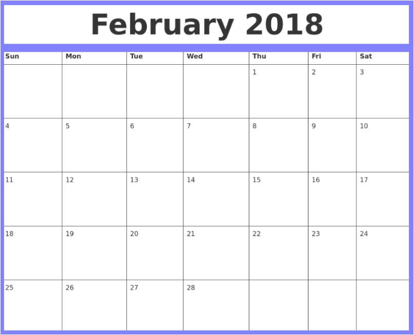 february 2018 calendar word document printable