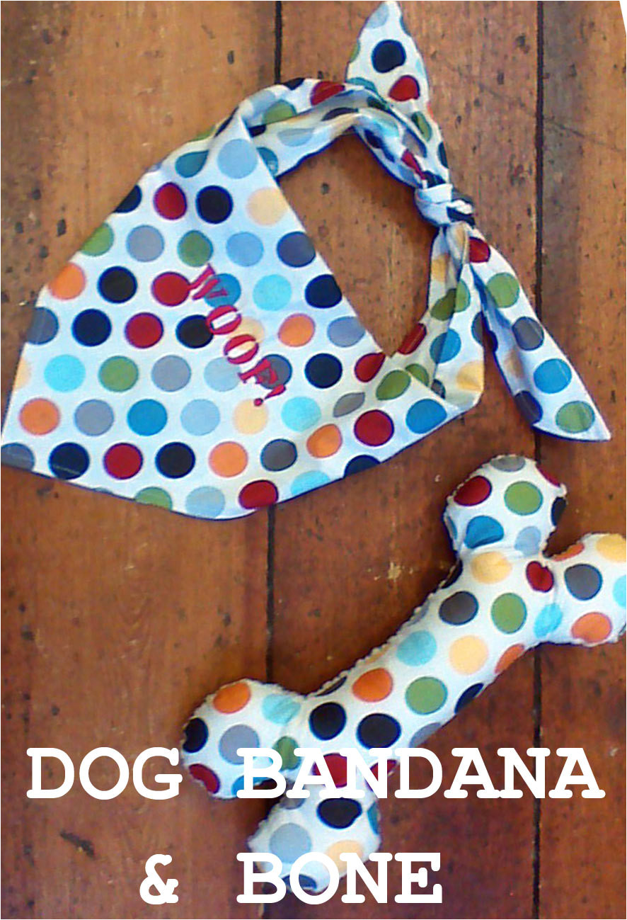 dog bandana and toy bone sewing pattern
