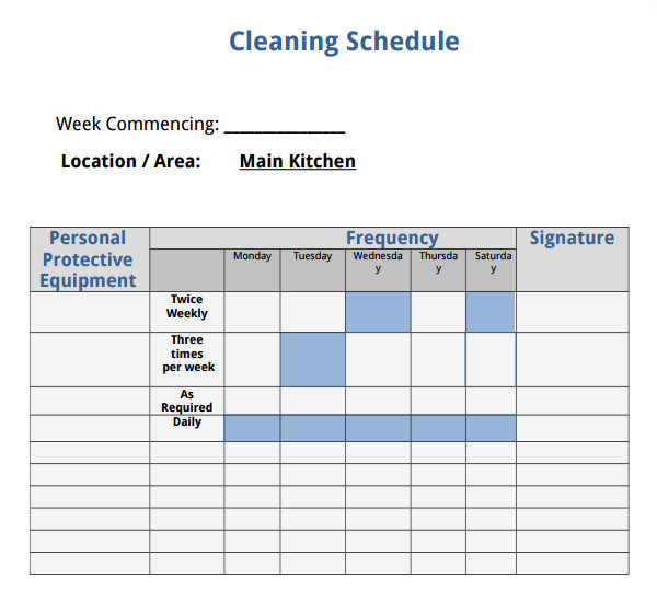 Domestic Cleaning Schedule Template 7 House Cleaning Checklist Templates Pdf Doc Sample