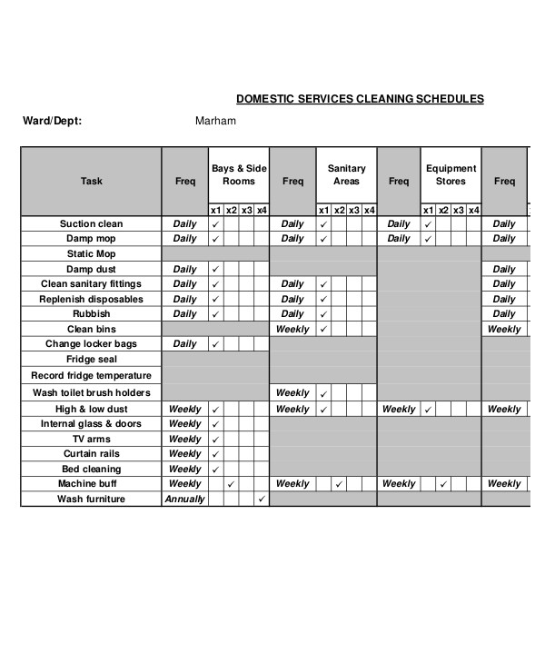 daily cleaning schedule templates