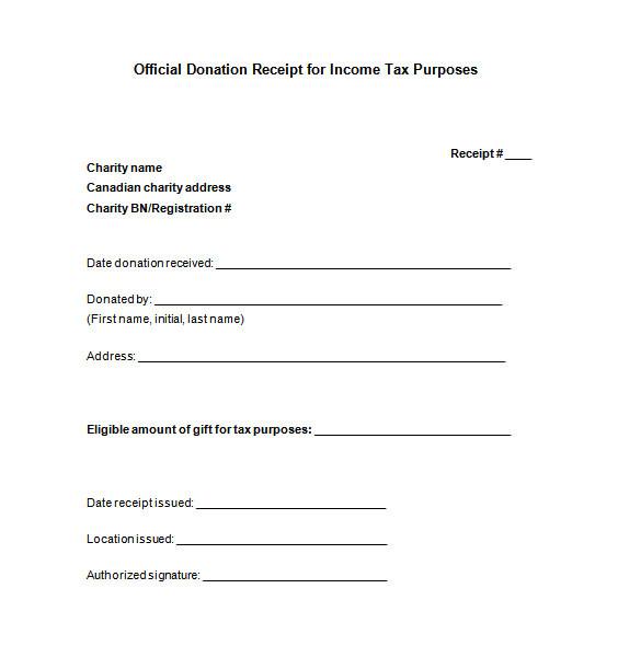 sample donation receipt