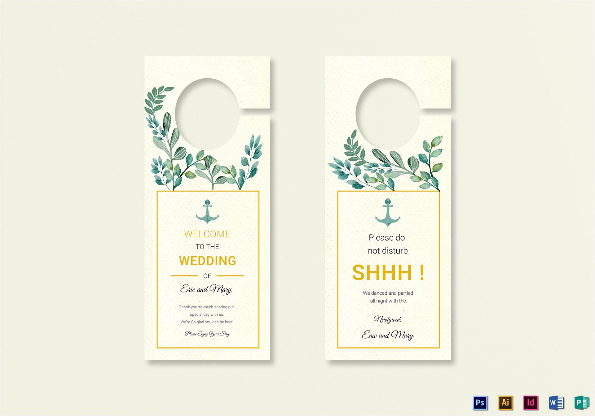 Door Hanger Template Indesign Nautical Wedding Door Hanger Template In Psd Word