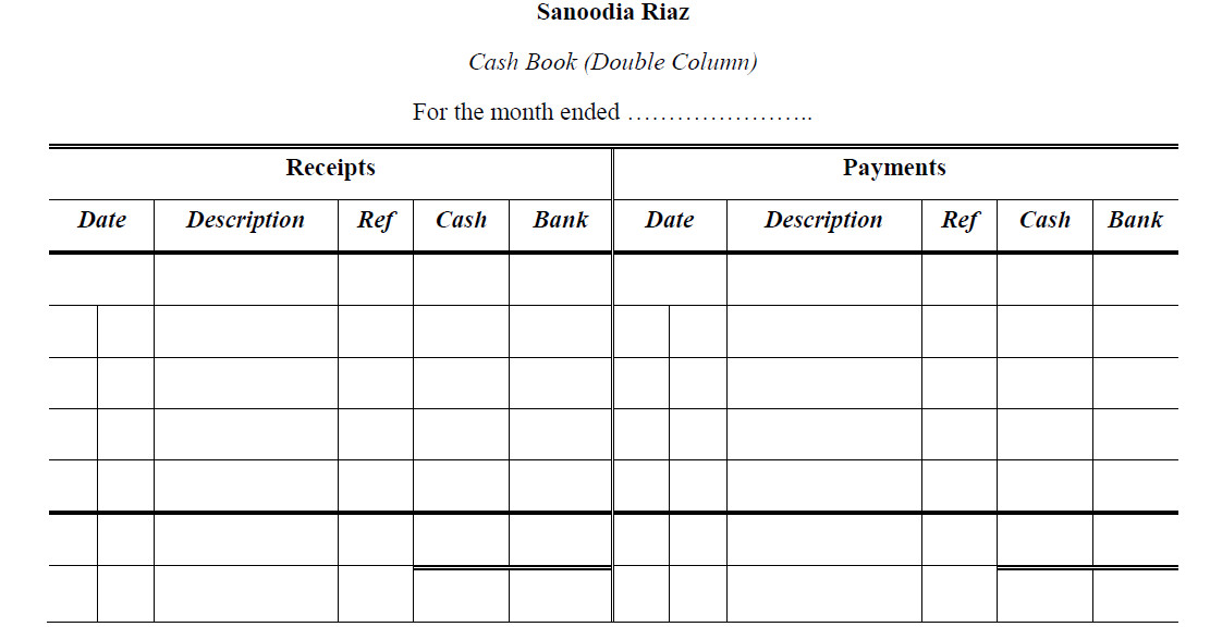 double sided journal entry template