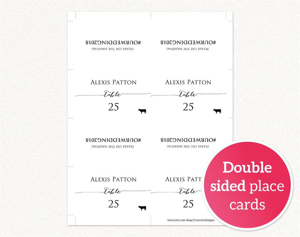 Double Sided Place Card Template Hashtag Place Cards Wedding Templates and Printables