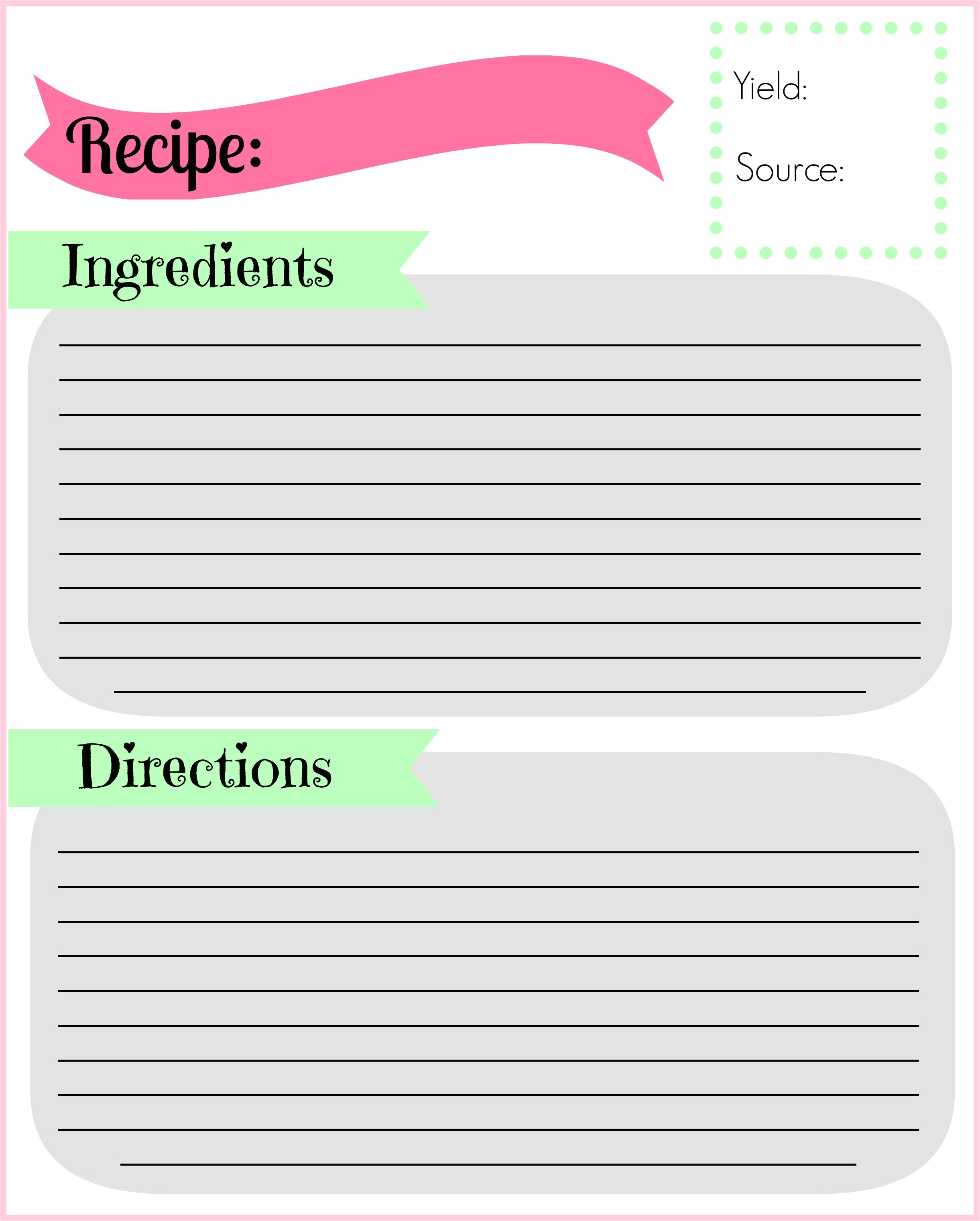 Downloadable Recipe Template Diy Recipe Binder Pocketful Of Motherhood