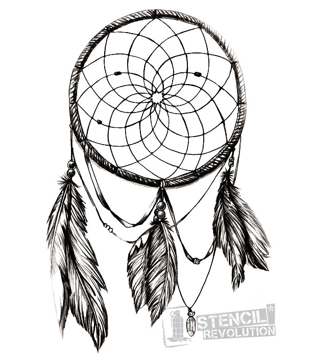 Dream Catcher Tattoo Template Drawn Dreamcatcher Stencil Pencil and In Color Drawn