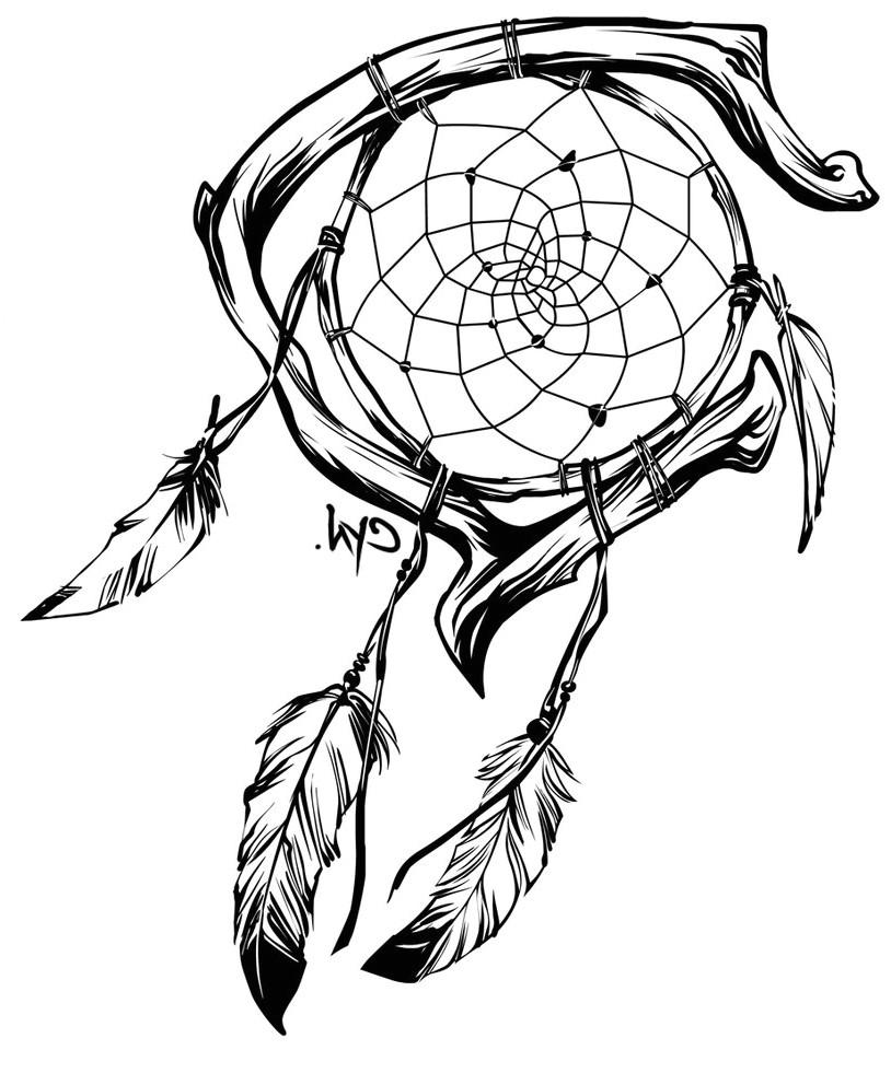 dreamcatcher tattoo drawing