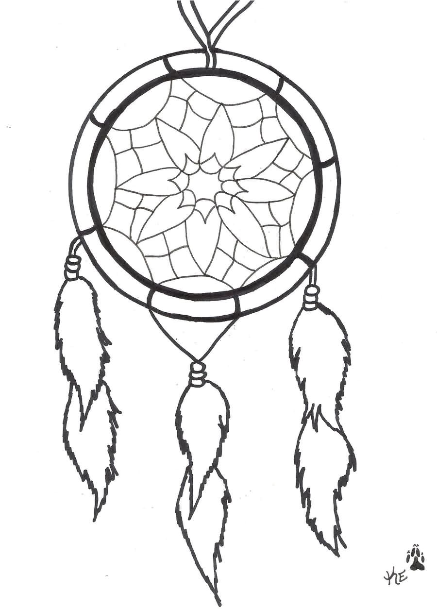 Dream Catcher Tattoo Template Outline Simple Dreamcatcher Tattoo Design