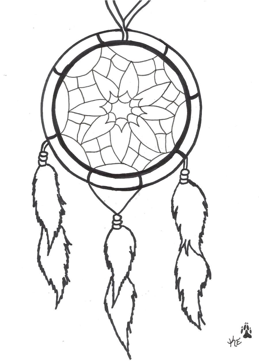 outline simple dreamcatcher tattoo design
